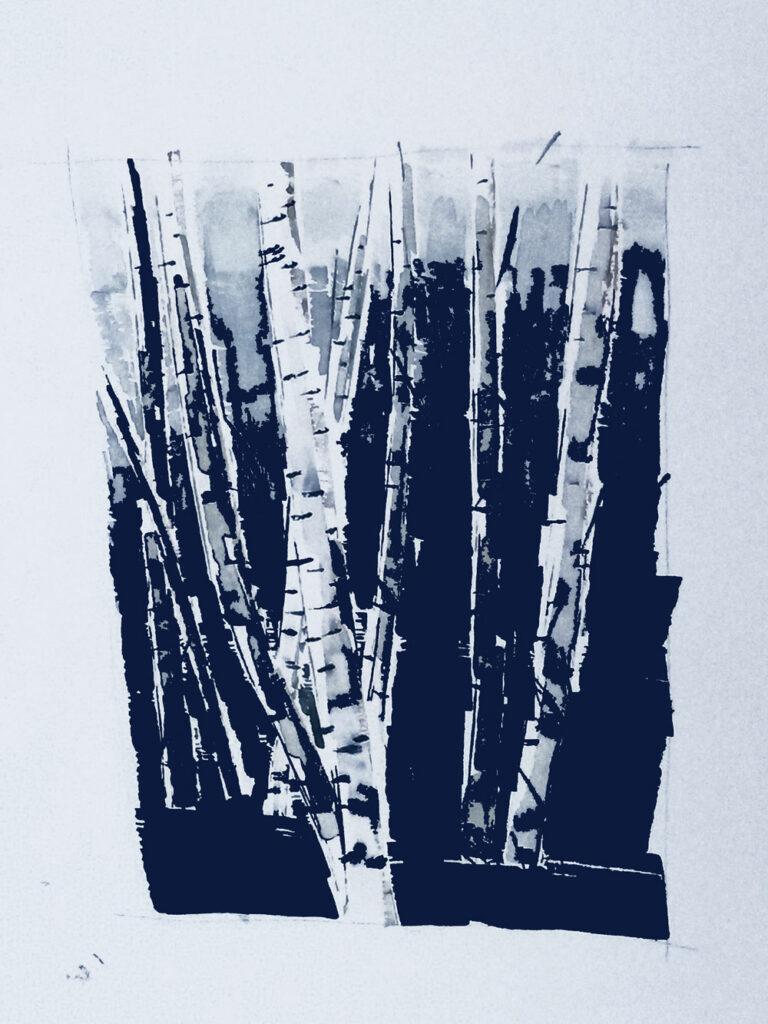 Birkenhain Aquarell, digital bearbeitet