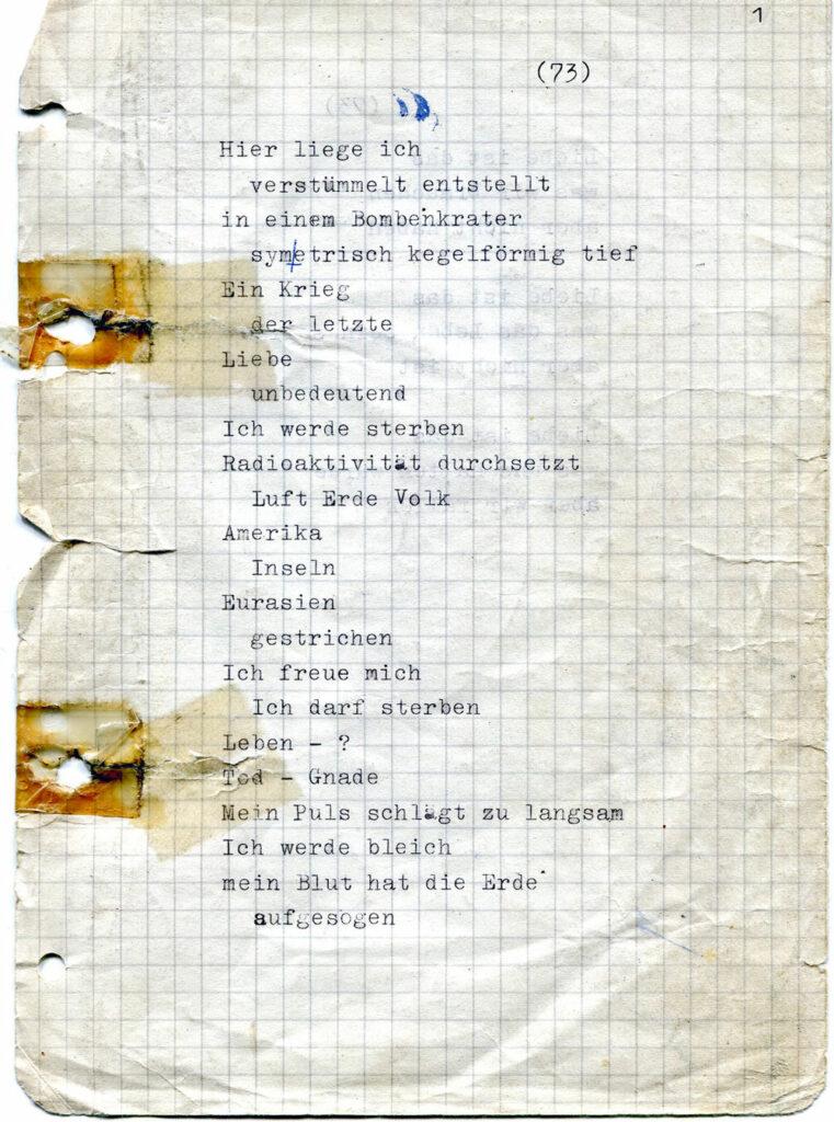 im-westen - erstes Gedicht von 1973
