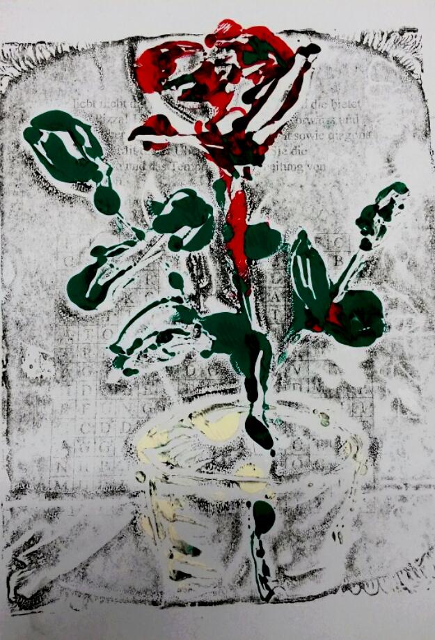 Eine Rose ist eine Rose ..., Monotypie 2016
